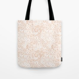 Nude with white lace flowers and birds Tote Bag