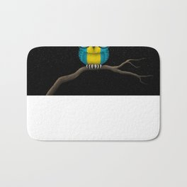 Baby Owl with Glasses and Bahamas Flag Bath Mat