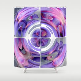 Abstract Morning Glory Fish Eye Collage Shower Curtain