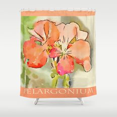 Orange Pélargonium Flowers with Painterly Water Color FX Shower Curtain