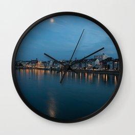 Basel at Night 2 Wall Clock