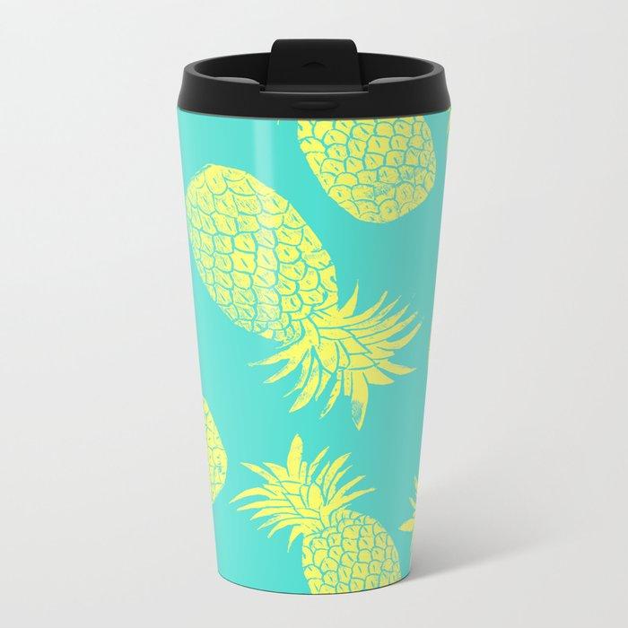 Pineapple Pattern - Turquoise & Lemon Metal Travel Mug