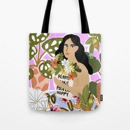 Plants Make People Happy Tote Bag