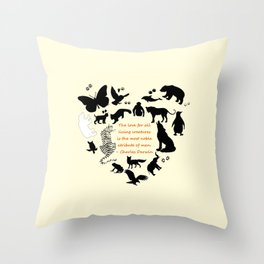 Love of the Animals Typography Throw Pillow