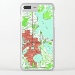 Vintage Map of Lakeland Florida (1944) Clear iPhone Case