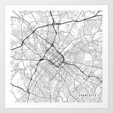 Charlotte Map, USA - Black and White Art Print