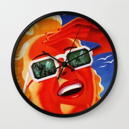 Retro Los Angeles California Travel Poster Wall Clock