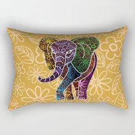 Elephant Floral Batik Art Design Rectangular Pillow