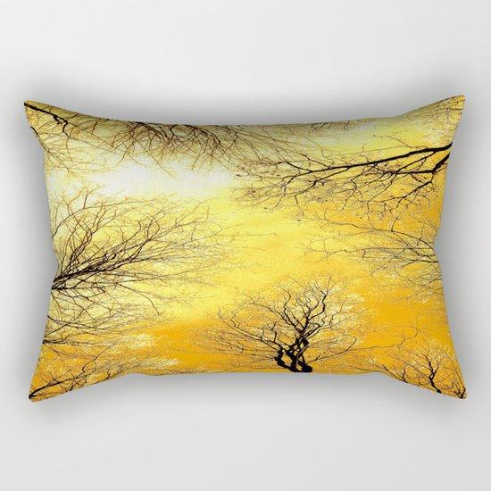 Black Trees Golden Sky Rectangular Pillow