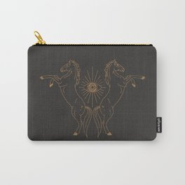 Wild Eyed Gemini - Vintage Black and Camel Carry-All Pouch