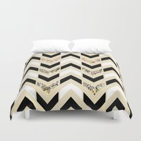 samsung Duvet Covers featuring Black, White & Gold Glitter Herringbone Chevron on Nude Cream by Tangerine-Tane