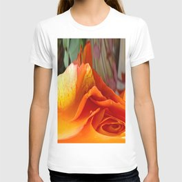 492 - Abstract Orange and Yellow Rose T-shirt