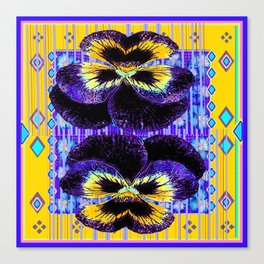 Western Style Double Purple & Gold Pansy Canvas Print