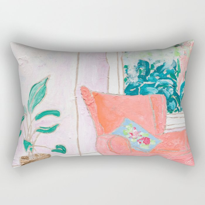 A Room with a View - Pink Armchair by the Window Rectangular Pillow