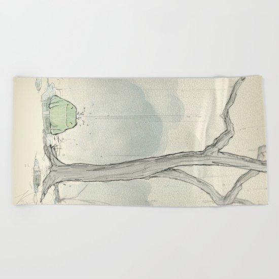The frog under the rain Beach Towel