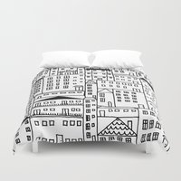 cityscape Duvet Covers featuring cityscape by Anna Grunduls