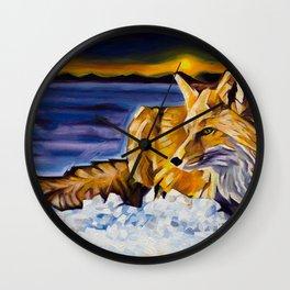 Twilight Fox Wall Clock