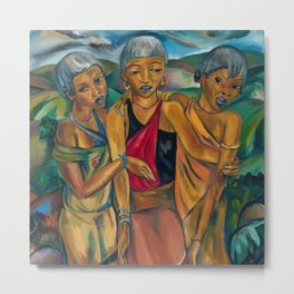 African American Masterpiece 'Sisters on their Return to the Motherland' portrait by I. Stern Metal Print