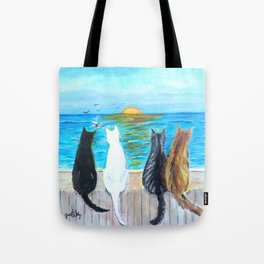 Cat Beach Sunset Tote Bag