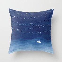 Follow the garland of stars, ocean, sailboat Throw Pillow