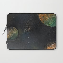 Orange and Green Planets Spacescape - Spray Paint Art Laptop Sleeve