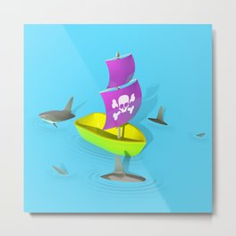 Circling Sharks Metal Print
