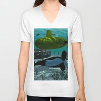 submarine V-neck T-shirts featuring Submarine by nicky2342
