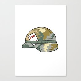 US Army Helmet 4 of Hearts Playing Card Drawing Canvas Print