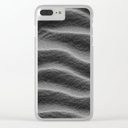 Sand_Ripples - Black and White Clear iPhone Case