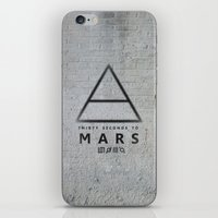 30 seconds to mars iPhone & iPod Skins featuring 30 Seconds to Mars - stencil on brick wall by sky0323