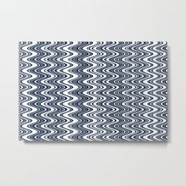 Classic blue waves, vertical wavy outline, abstract river flow Metal Print