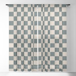 Checkerboard Pattern Inspired By Night Watch PPG1145-7 and Sourdough Beige Tan PPG1084-3 Sheer Curtain