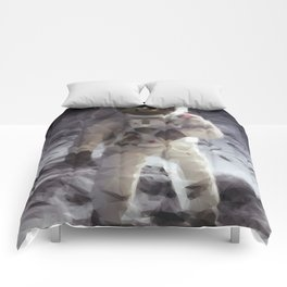 Buzz Aldrin on the Moon in Triangles Comforters