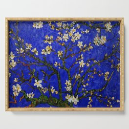 Abstract Daisy with Blue Background Serving Tray