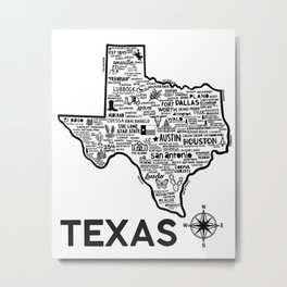 Texas Map Metal Print