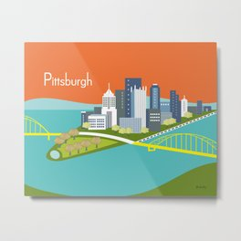 Pittsburgh, Pennsylvania - Skyline Illustration by Loose Petals Metal Print