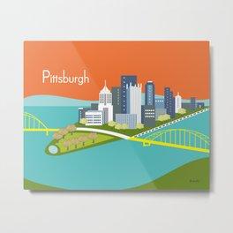 Pittsburgh, Pennsylvania - Skyline Illustration by Loose Petals Metal Print