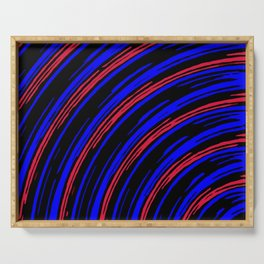 graffiti line drawing abstract pattern in blue red and black Serving Tray