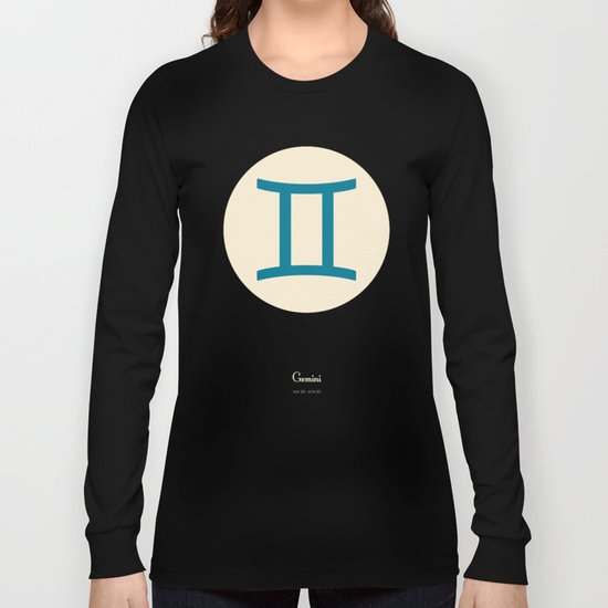 Gemini Symbol Blue Long Sleeve T-shirt