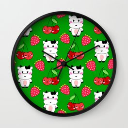 Cute funny sweet adorable happy baby cows, little cherries and red ripe summer strawberries cartoon fantasy dark vibrant green pattern design Wall Clock
