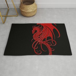 Flying Red and Black Tribal Dragon Rug