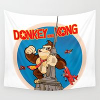 donkey Wall Tapestries featuring Donkey King Kong by Vickn