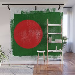 Bangladesh Distressed Halftone Denim Flag Wall Mural