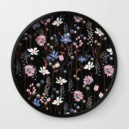 Darkly Beautiful Wildflower Floral Pattern Wall Clock