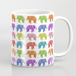 Colorful Parade of Elephants in Red, Orange, Yellow, Green, Blue, Purple and Pink Coffee Mug