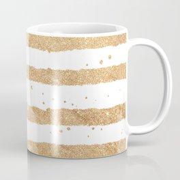 Elegant white faux gold glitter geometrical stripes Coffee Mug