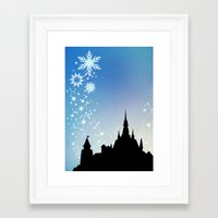 pixar Framed Art Prints featuring Pixar Frozen Castle with Snowflakes by Teacuppiranha