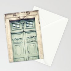 Paris door, grey aqua Stationery Cards
