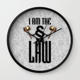 I am the law / 3D render of section sign holding judges gavels Wall Clock