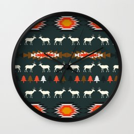 Ethnic deer pattern with Christmas trees Wall Clock